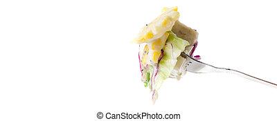 nosso, garfos, com, tipos diferentes legumes