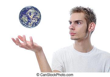 nosso, mundo, mãos