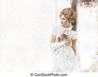 nostálgico, denominado, mulher, em, openwork, lacy, retro, vestido