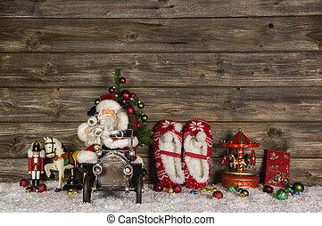 nostálgico, madeira, decoração natal, com, antigas, crianças, brinquedos, ligado