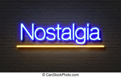 nostalgi, neon signera, på, tegelsten vägg, bakgrund.