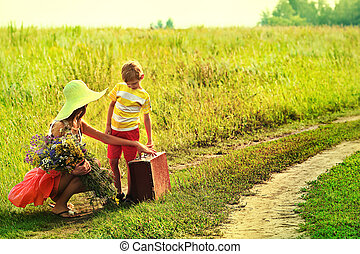 nostalgia - Beautiful mother with her little son goes on a...