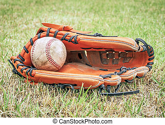 Nostalgic baseball in glove