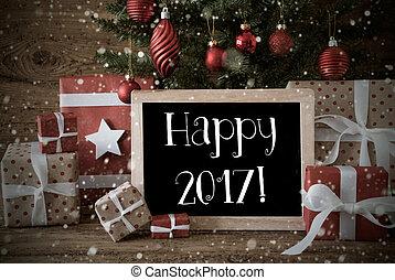 Nostalgic Christmas Tree With Happy 2017, Snowflakes -...