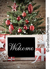 Nostalgic Christmas Tree With Welcome