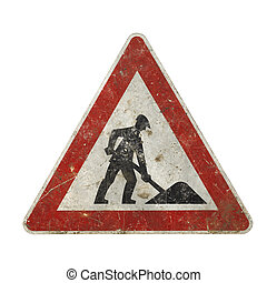 frontal studio photography of a old scruffy construction sign showing a working man in white back