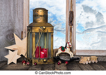 Nostalgic old christmas decoration with old toys and a old...
