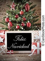 Nostalgic Tree With Feliz Navidad Means Merry Christmas