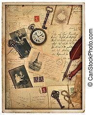 nostalgic vintage styled background with old photos -...