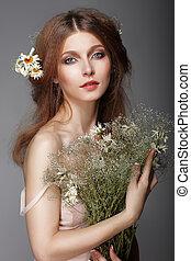 nostalgique, femme, sentiment., herbes, portrait, redhair