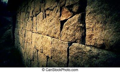 nostalgique, lumières, mur pierre