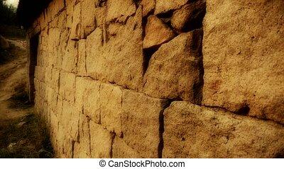 nostalgique, pierre, bois, mur, porte