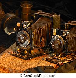 nostalgisk, cameras, stilleben