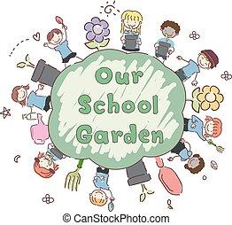 nostro, bambini, stickman, giardino, illustrazione