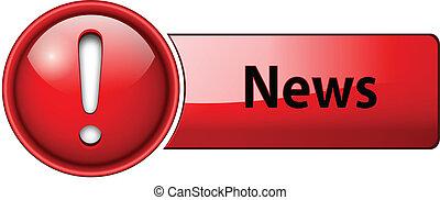 notícia, ícone, botão