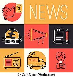 notícia, ícones, vetorial, jornalista, homem, personagem,...
