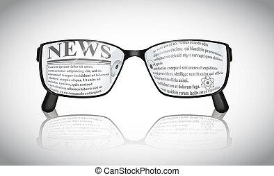 notícia, óculos