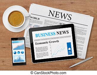 notícia, alimentação, ligado, móvel, dispositivos