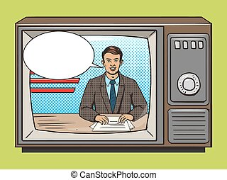 notícia, apresentador, ligado, tv, arte pnf, estilo, vetorial