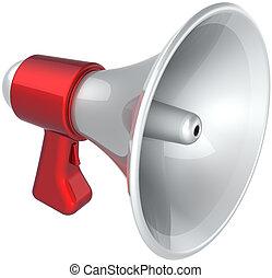 notícia, branca, megafone, símbolo, vermelho