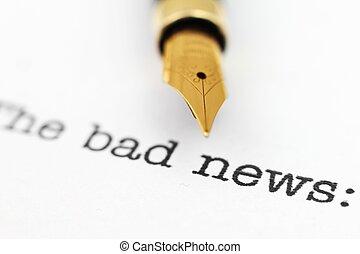 notícia, caneta, chafariz, mau