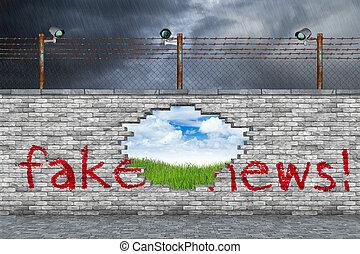 notícia, conceito, fraude