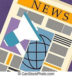 notícia, conceito, ilustração