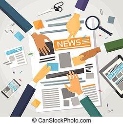 notícia, editor, escrivaninha, workspace, fazer, jornal,...