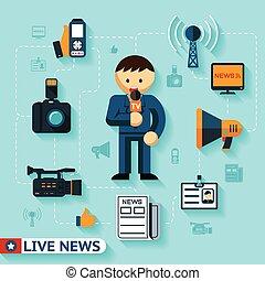 notícia, imprensa massa