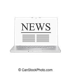 notícia, laptop, online