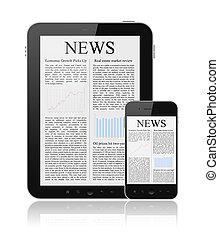 notícia, ligado, modernos, digital, dispositivos
