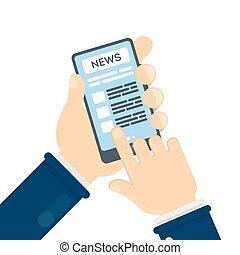 notícia, ligado, smartphone.