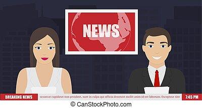 notícia, ligado, tv, quebrando notícia
