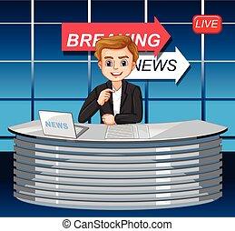 notícia, macho, repórteres