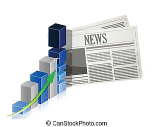 notícia negócio, com, gráfico de barras