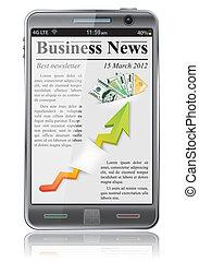 notícia, negócio, esperto, telefone