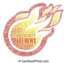 notícia, palavra, nuvem, fraude