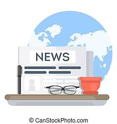 notícia, paper., global