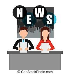notícia, quebrar, repórter, ícone