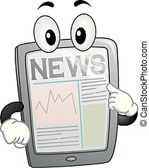 notícia, tabuleta, ilustração, mascote