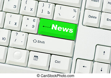 notícia, teclado computador