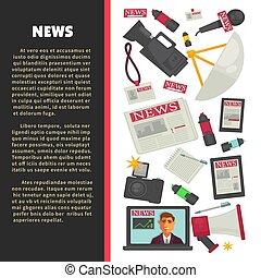 notícia televisão, cartaz, para, jornalismo, profissão, de,...