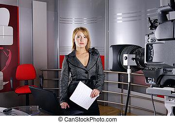 notícia televisão, repórter, e, câmera vídeo