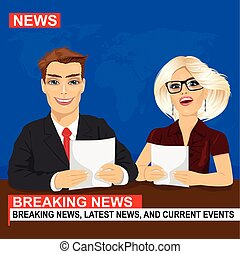notícias tv, âncoras, elaboração do relatório, quebrando notícia, sentando, em, estúdio