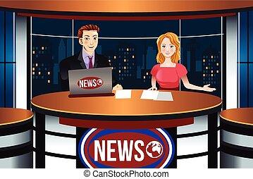 notícias tv, âncoras, ilustração