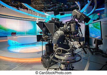 notícias tv, estúdio, lançar