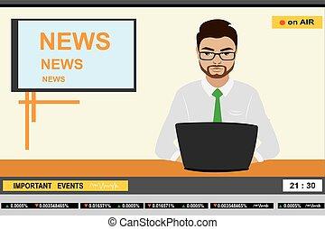 notícias tv, homem, âncora, cabeçalho
