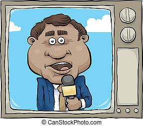 notícias tv, repórter