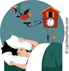 Stressed woman lying in her bed early in the morning burying her head in pillows, trying to muffle a cuckoo clock, vector illustration, no transparencies, EPS 8
