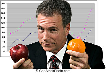 Businessman in front of a graph impressing upon his group the fallacy of using unlike measures to compare outcomes